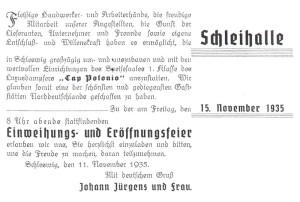 Einladung zur Neueröffnung nach Umbau. 11.Nov.1935