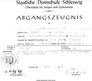 Abgangszeugnis 1953