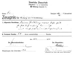 Zeugnis Domschule 1946/47