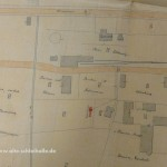 Lageplan von 1896, rechts neben dem Tank der Schuppen von Ehlert.