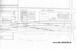 Lageplan 1927, mit dem Kreisbahnschuppen und Tanklager.