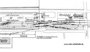 Lageplan 1913 - Im Garten der Angler Bahn wurde das Tanklager gebaut.
