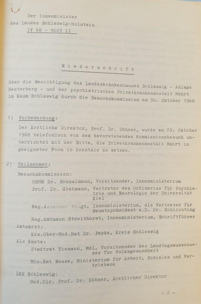 Protokoll Seite 1, Besuchskommission