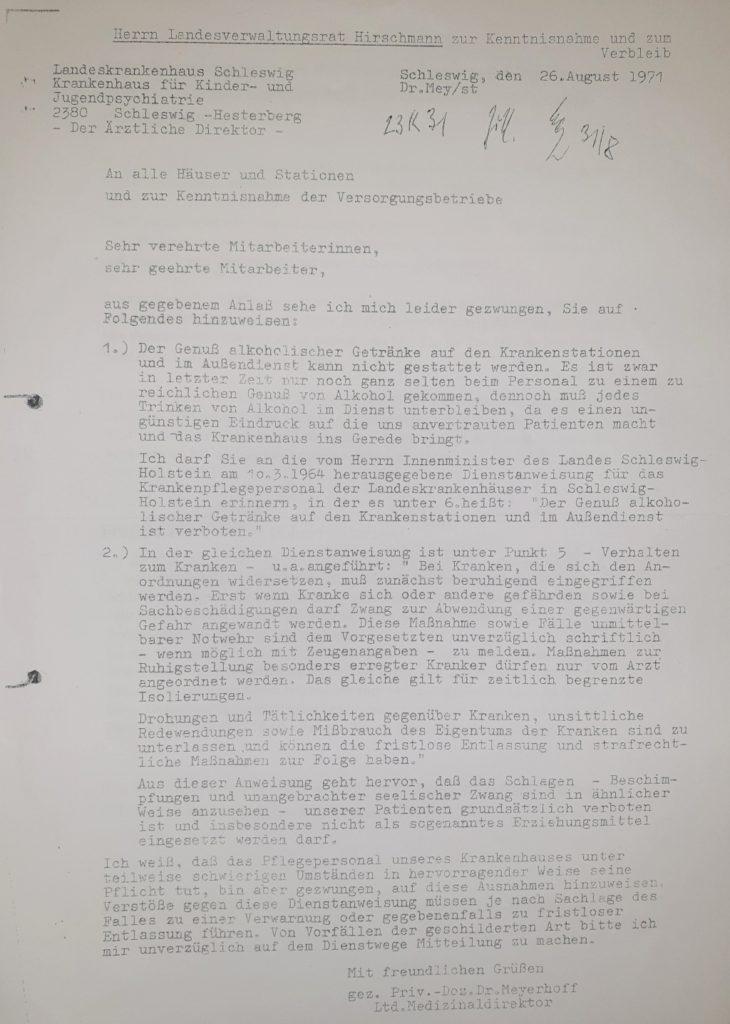 Rundschreiben Dr. Meyerhoff 26. August 1971, LKH Schleswig Hesterberg